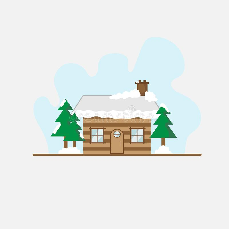 House in forest and snow, landscape background stock illustration