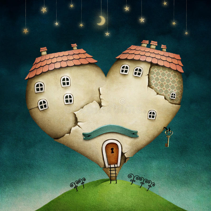House in form of heart. Illustration or poster with house in shape of heart. computer graphics