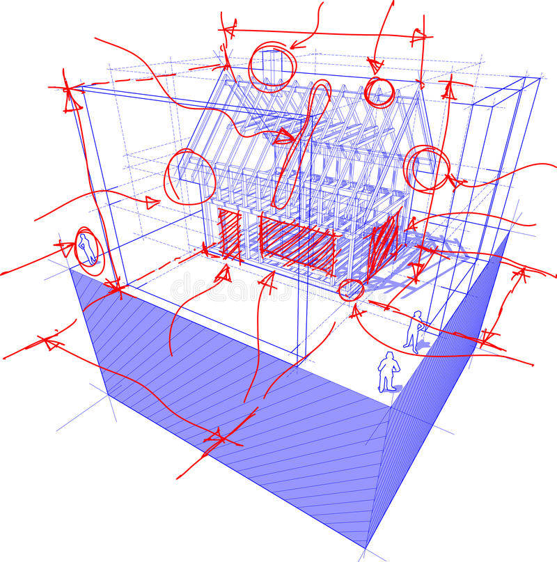 House framework with dimensions and hand drawn sketches. 3d illustration of diagram of a framework construction of a detached house with 3D dimensions and hand royalty free illustration