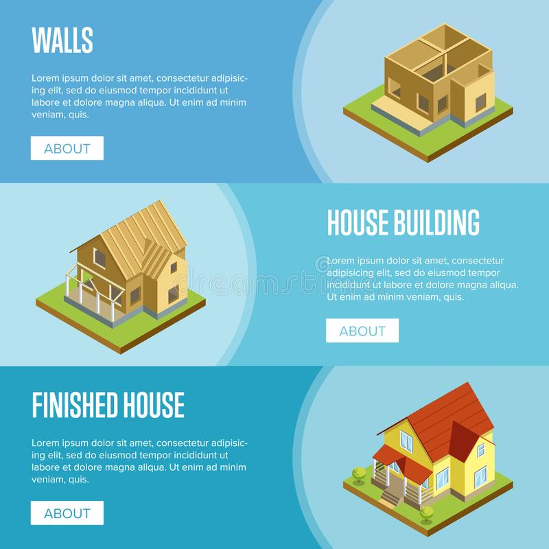 House framework isometric 3d concept. House framework, construction of walls, roof installation and finishing isometric vector illustration. Architectural stock illustration