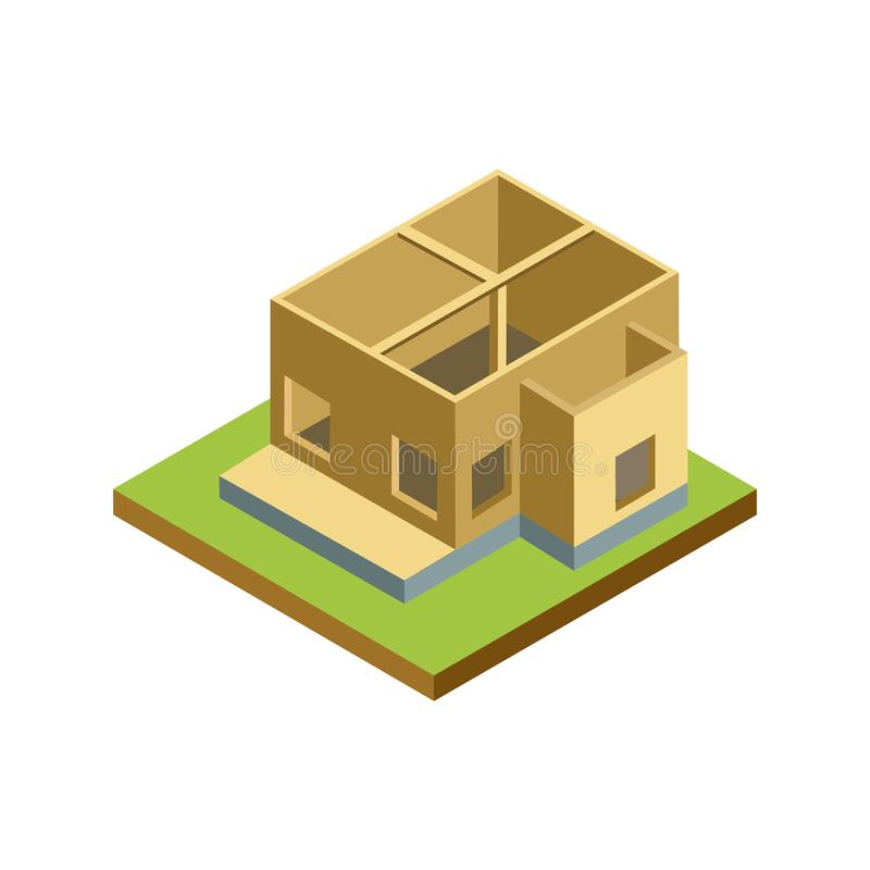 House framework isometric 3D icon. Architectural engineering, construction stages of countryside house vector illustration royalty free illustration