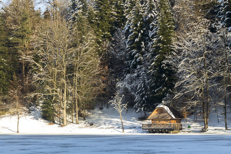 House on a frozen lake. In winter royalty free stock photos