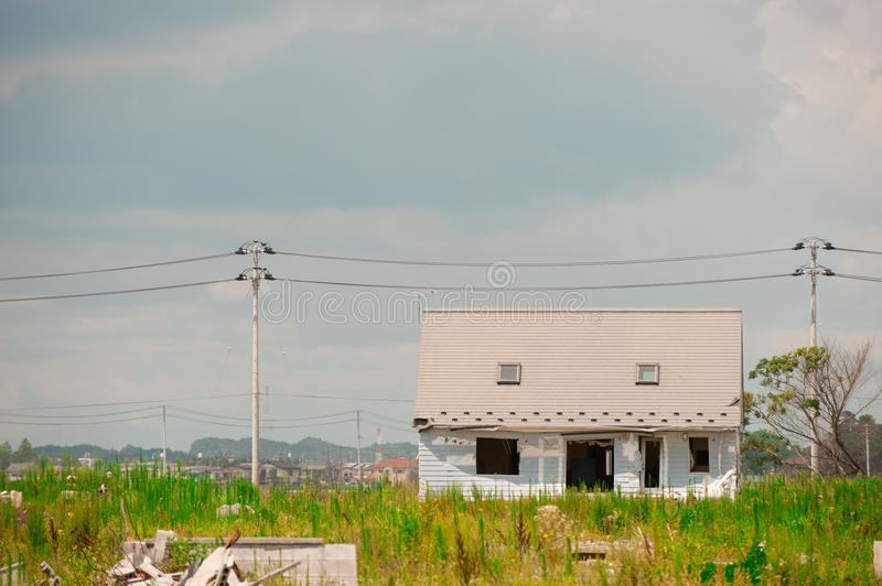 House after Fukushima Tsunami Disaster in Ishinomaki, Japan. Fukushima Tsunami disaster happened on March 11 in 2011. The world is big enough stock photo