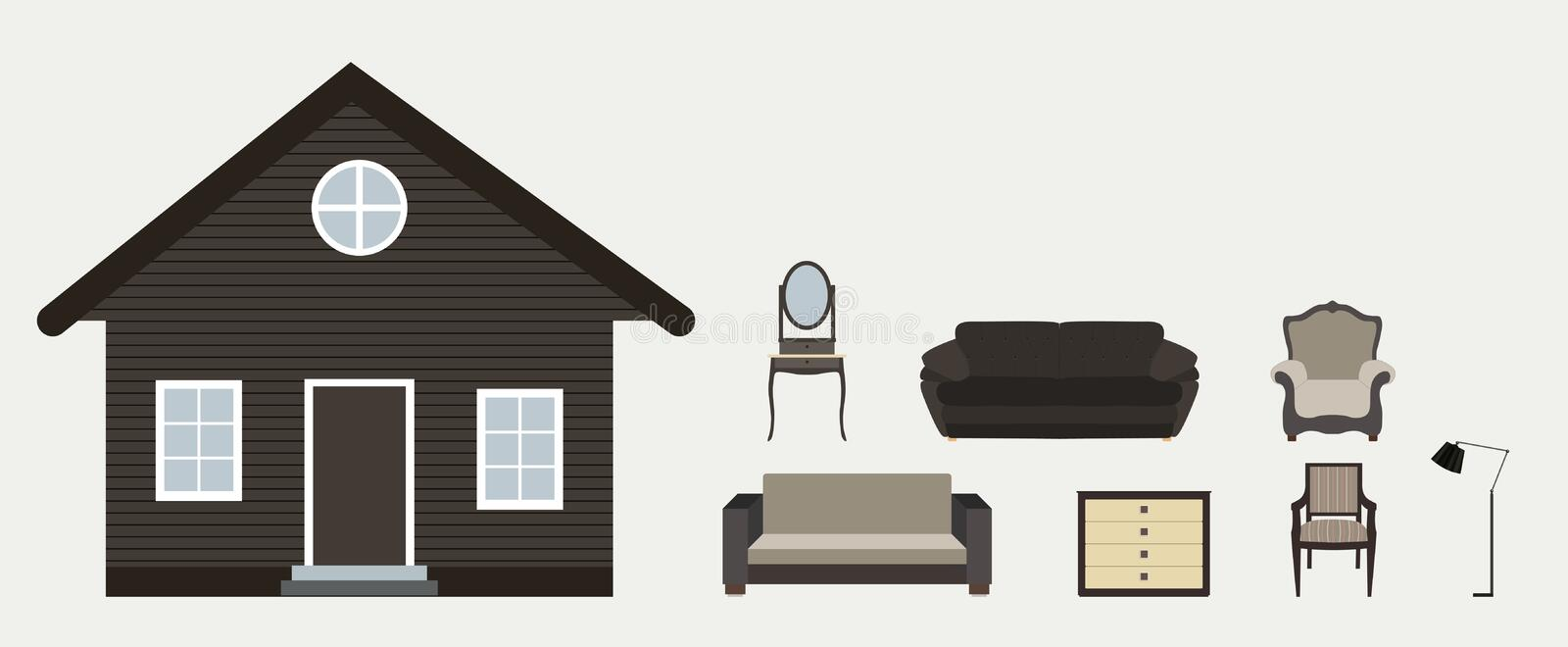 The house is furnished with furniture. Modern Flat style Vector vector illustration