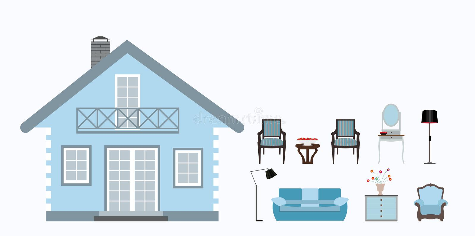 The house is furnished with furniture. Modern Flat style Vector stock illustration