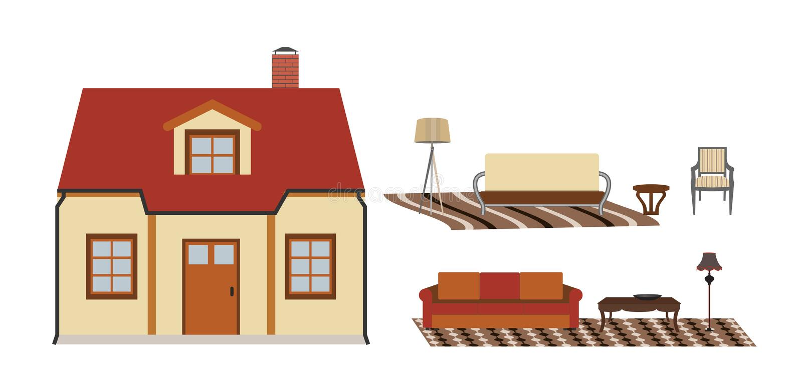 The house is furnished with furniture. Modern Flat style Vector royalty free illustration