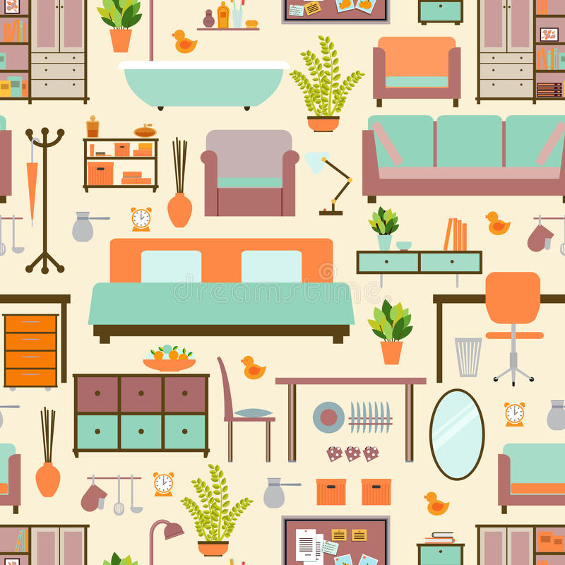 House Furniture Pattern Stock Vector Illustration Of Fashion 53061703