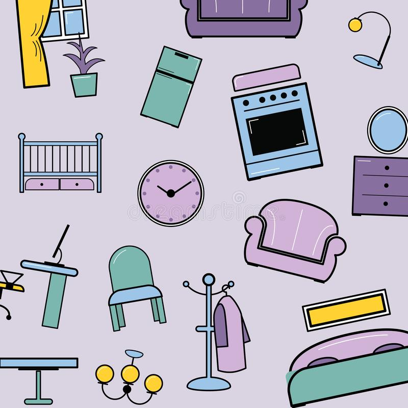 House furniture pattern vector illustration. Lilac background home, object decoration, sofa and indoor clocks, chair vector illustration