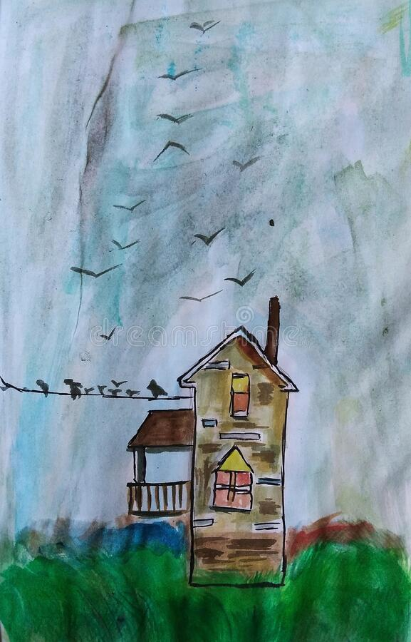 House ,gallery and the birds royalty free stock photos
