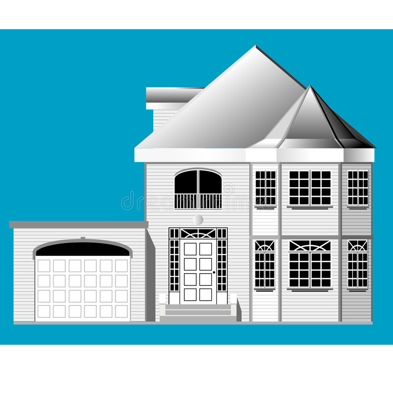House with garage stock illustration
