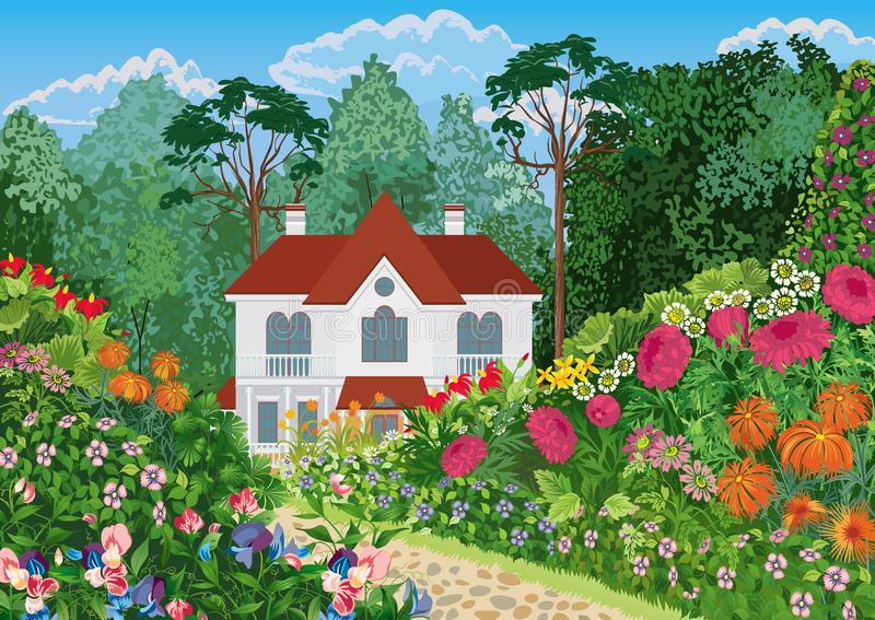 House in the garden vector illustration