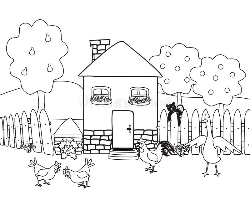 house garden farm animals coloring book house garden farm animals coloring book vector illustration group