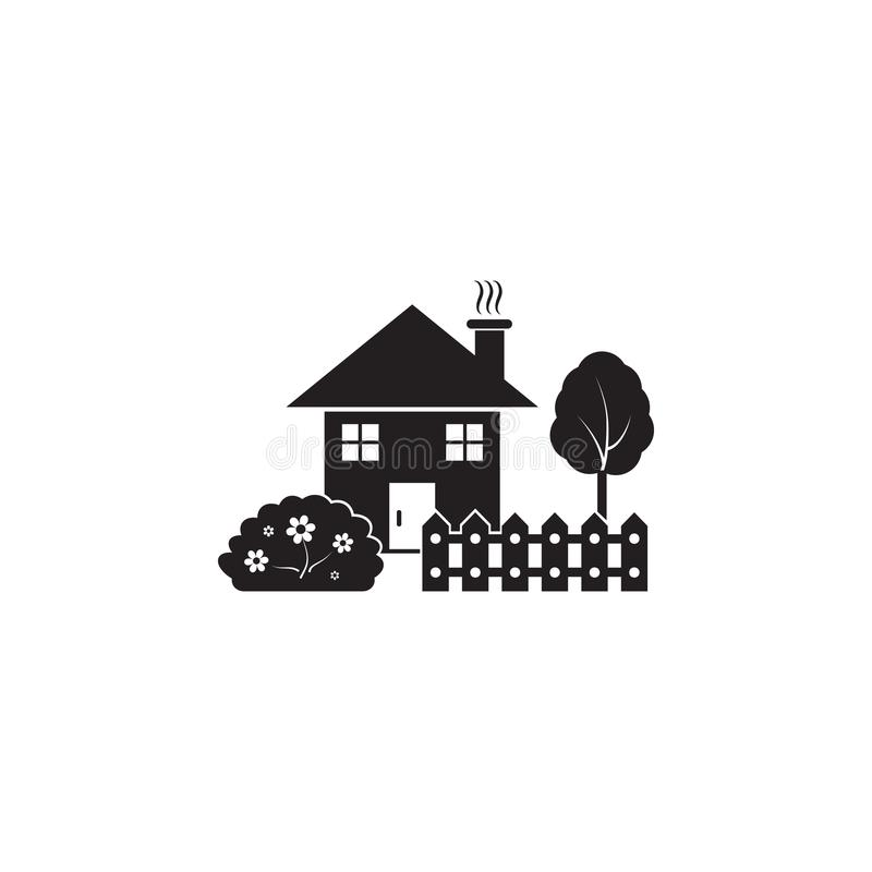 house with garden icon. Element of landscape illustration. Premium quality graphic design icon. Signs and symbols collection icon royalty free illustration