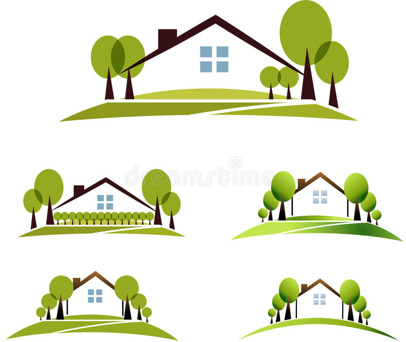 House and garden vector illustration