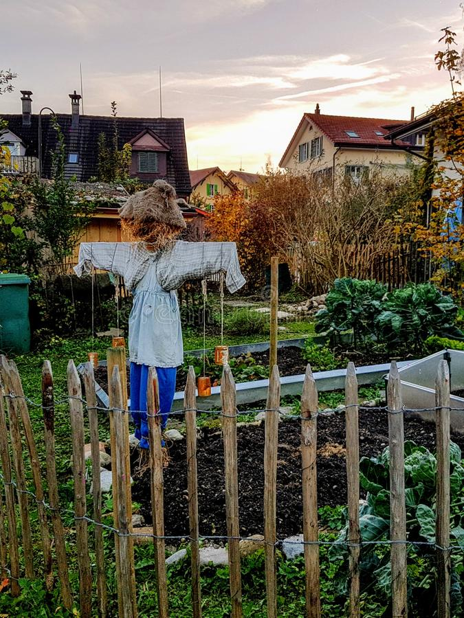 Free House Garden With Scarecrow In Wald Switzerland Stock Photo - 162374350