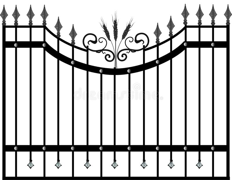 House gate and fence vector. wallpaper. FORGED PRODUCTS stock illustration