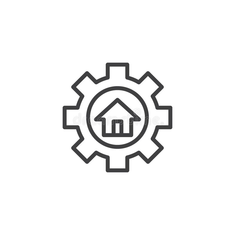 House and gear outline icon. Linear style sign for mobile concept and web design. Home repair simple line vector icon. Real estate symbol, logo illustration vector illustration