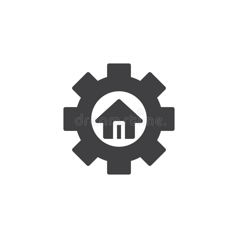House and gear vector icon. Filled flat sign for mobile concept and web design. Home repair simple solid icon. Symbol, logo illustration. Pixel perfect vector royalty free illustration