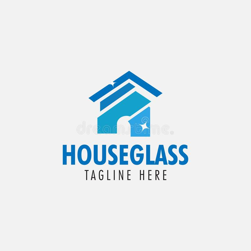 House glass logo design template vector isolated. Symbol, home, construction, concept, graphic, icon, building, business, real, estate, architecture, element royalty free illustration