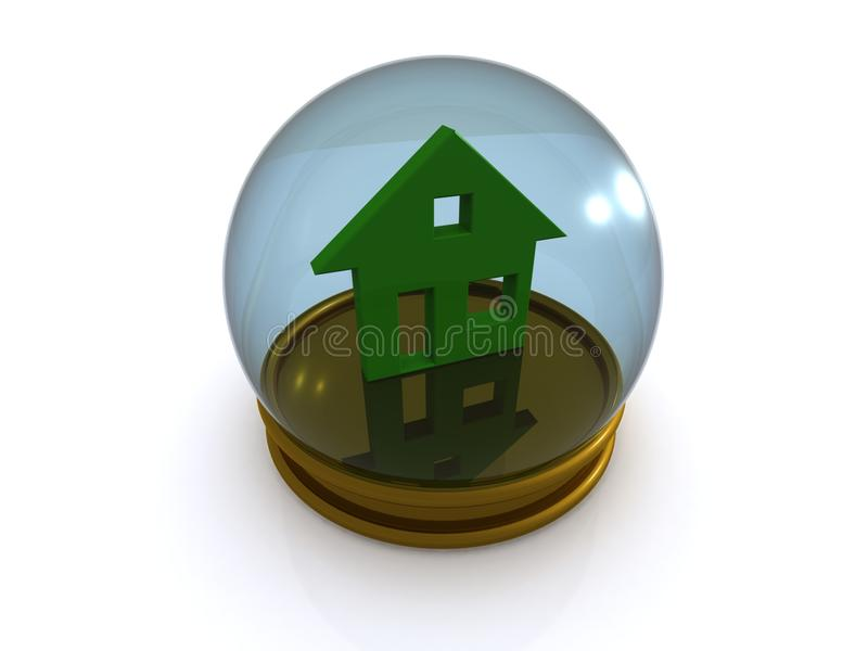 House In Glass Paperweight Royalty Free Stock Photography
