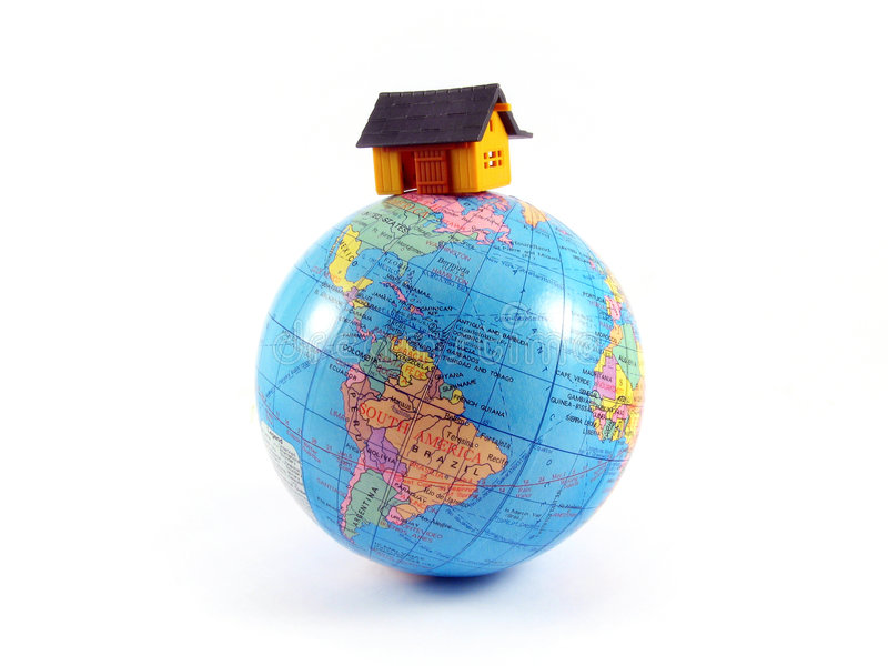 House on globe planet earth royalty free stock photography