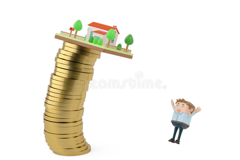 House on a gold coins stack fall to a businessman.3D illustration. stock illustration