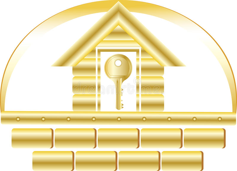 House with golden key. House with golden bricks and key symbol safety stock illustration