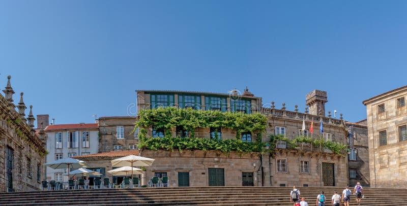 Santiago de Compostela - La Casa de la Parra. The house of the grapevine is a famous landmark in Santiago de Compostela. Next to the cathedral it was brought to stock images