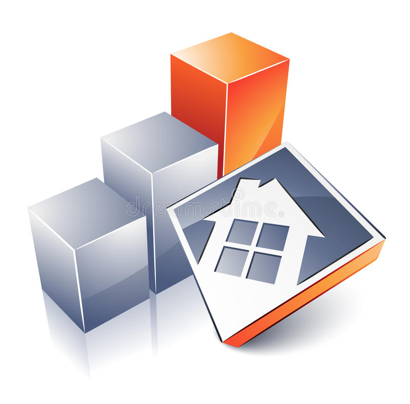 House and graph. Clipart illustration