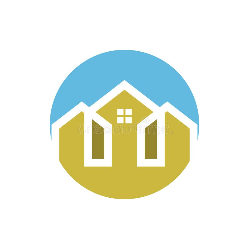 House graphic design template vector isolated illustration. Logo, residence, icon, home, building, estate, living, architecture, simple, loan, housing, town stock illustration