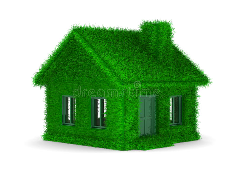 House from grass on  white background