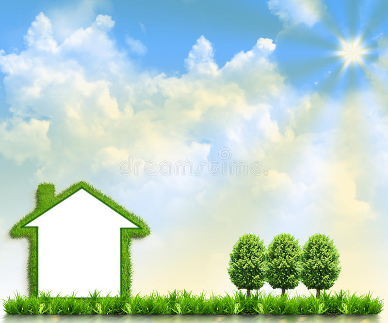 House on green field. Against the background of the sky royalty free stock images