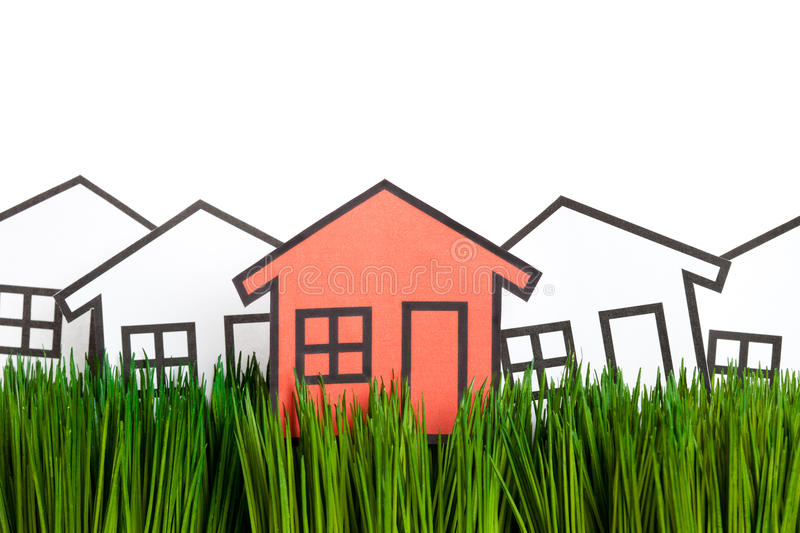 House And Green Grass Stock Photo Image Of Blue