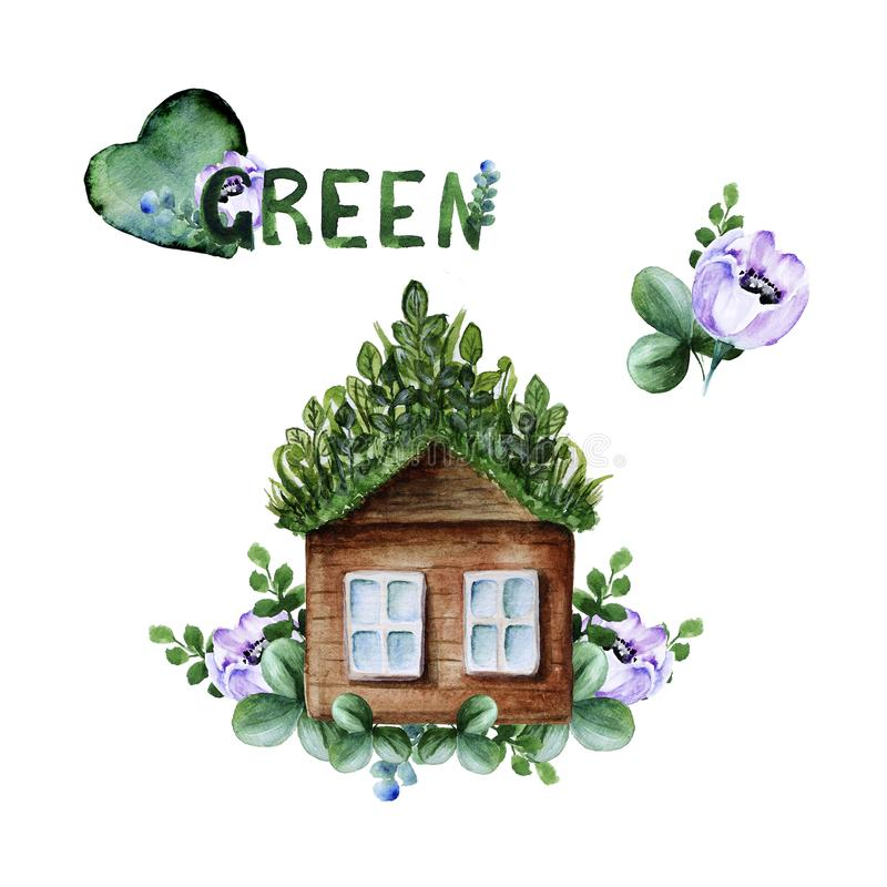 House with green grass roof, green twigs, leaves and anemone flowers stock photos