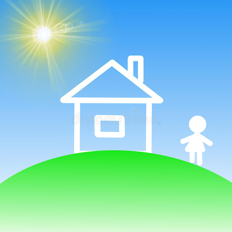 House on a green lawn on a background blue sky. Illustration royalty free illustration
