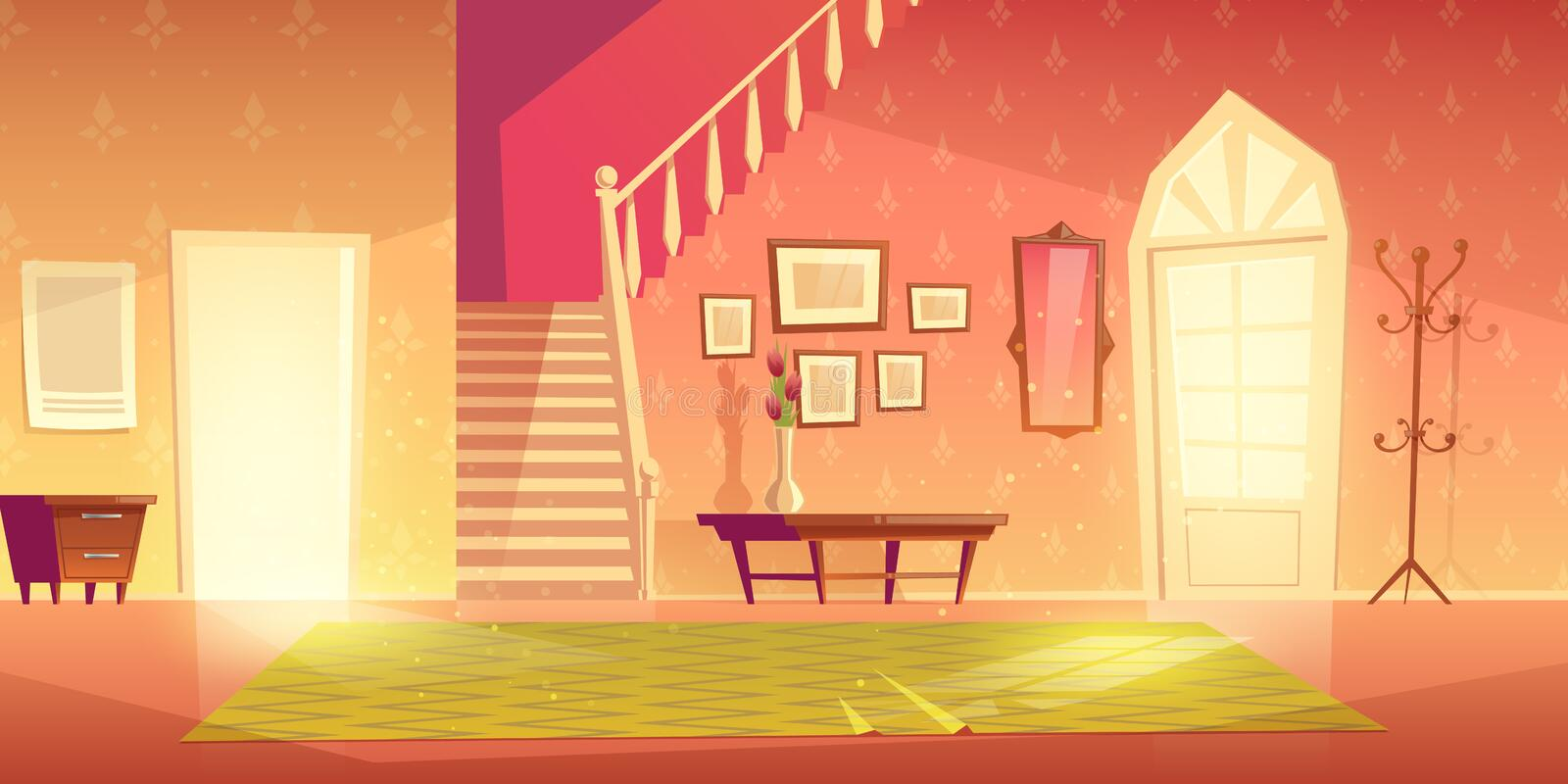House hallway entrance interior with furniture. stock illustration