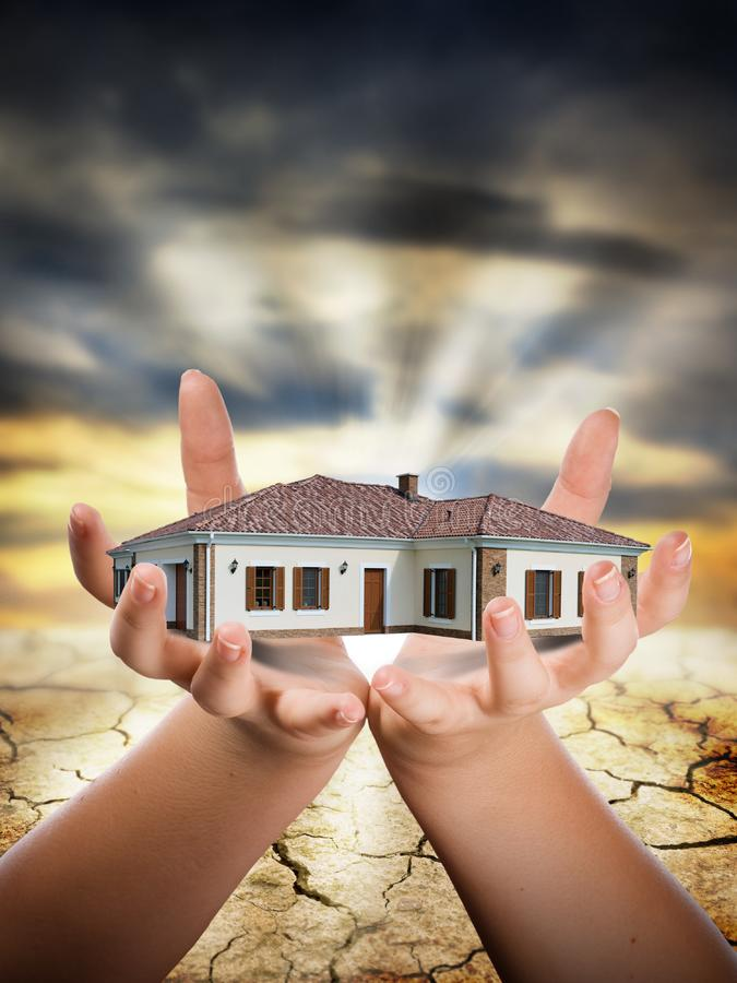 House in hand stock photos