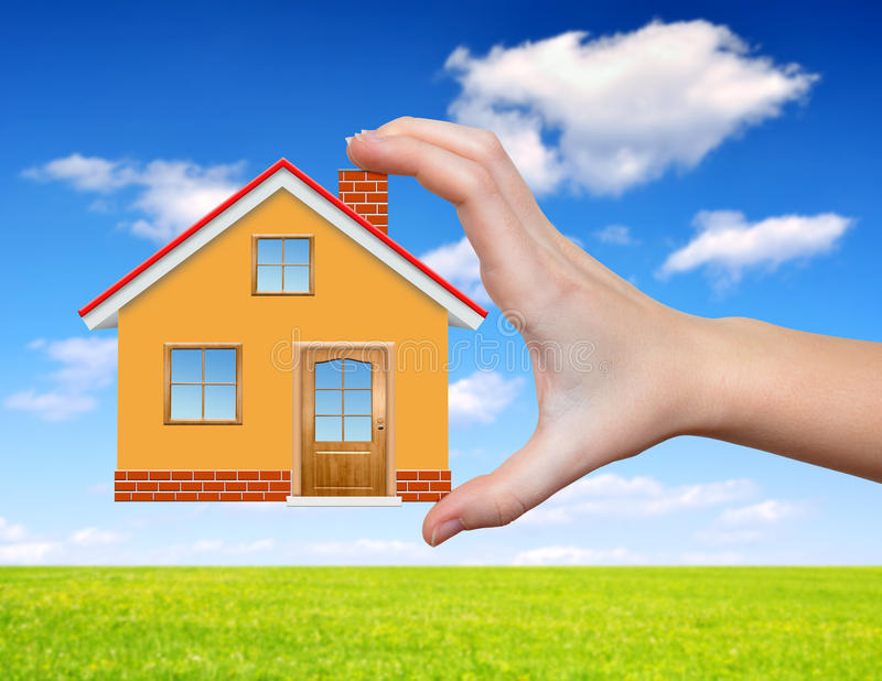 Download The house in hand stock photo. Image of loan, business - 39268082