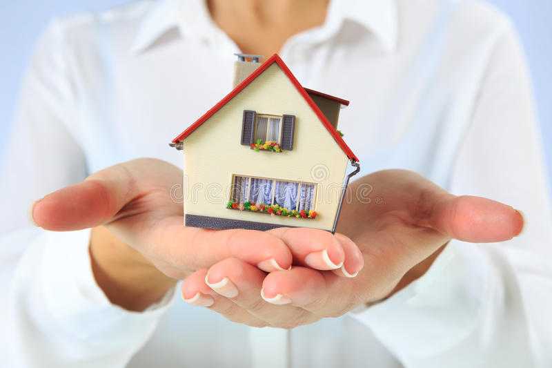 House in hands royalty free stock images