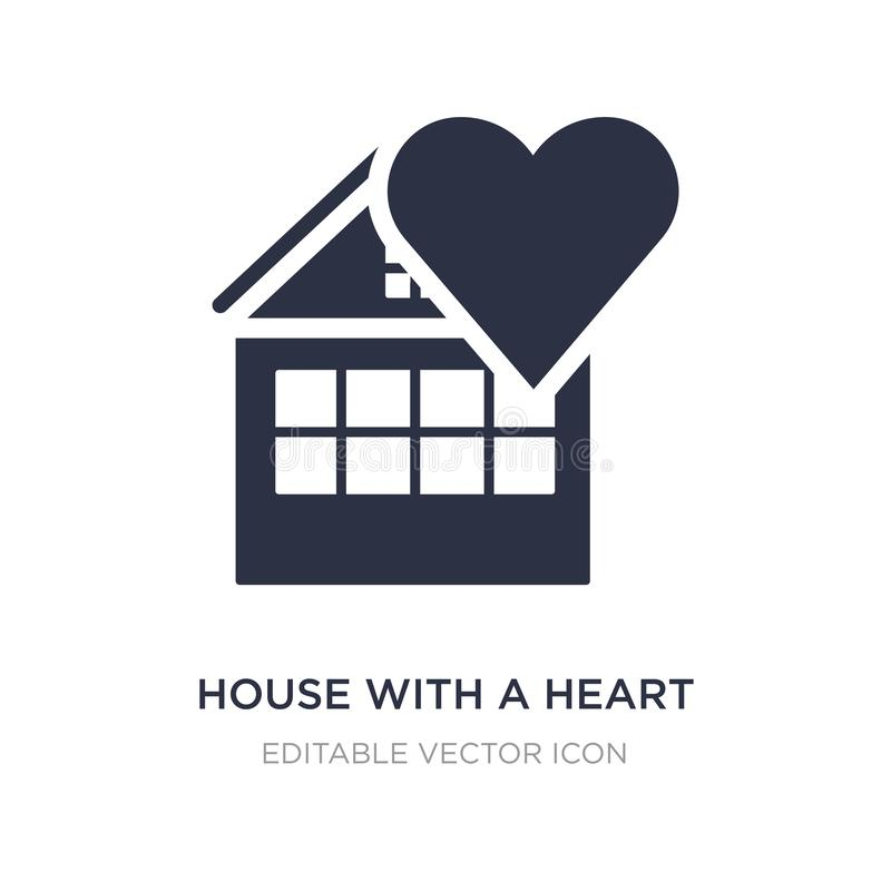 house with a heart icon on white background. Simple element illustration from Buildings concept royalty free illustration