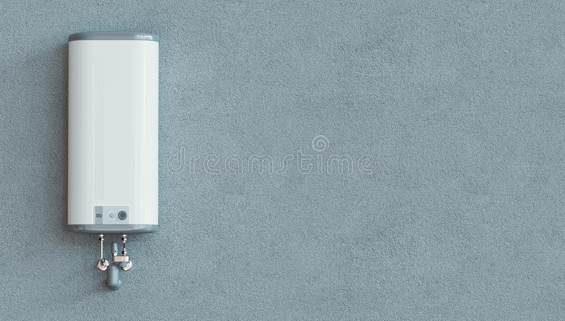 House heating concept, modern home gas fired boiler, 3d rendering. House heating concept - modern home gas fired boiler - energy and cash savings, 3d rendering stock image
