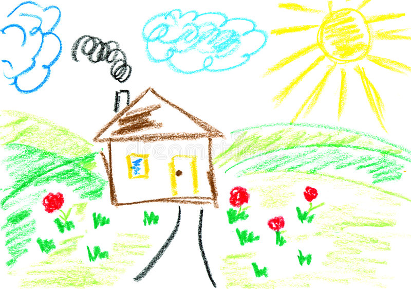 House on hill. House on green hills in spring. Child's drawing with crayons