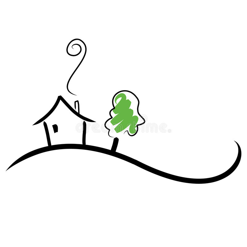 House on a Hill. Simple illustration of a house on a hill