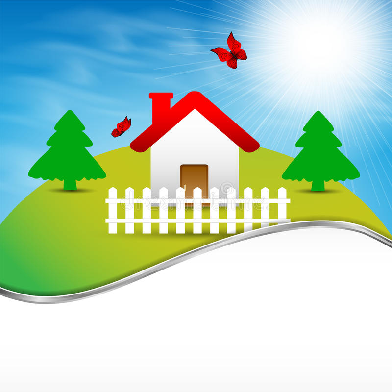 House on the hill vector illustration