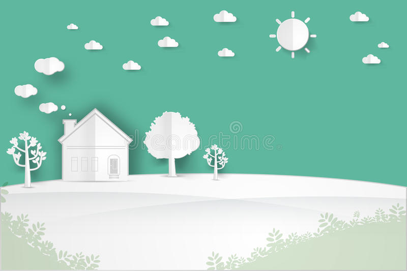 House on the hill. Minimalist landscape house on the hill with tree,sun,cloud landscape background , paper art style vector illustration stock illustration