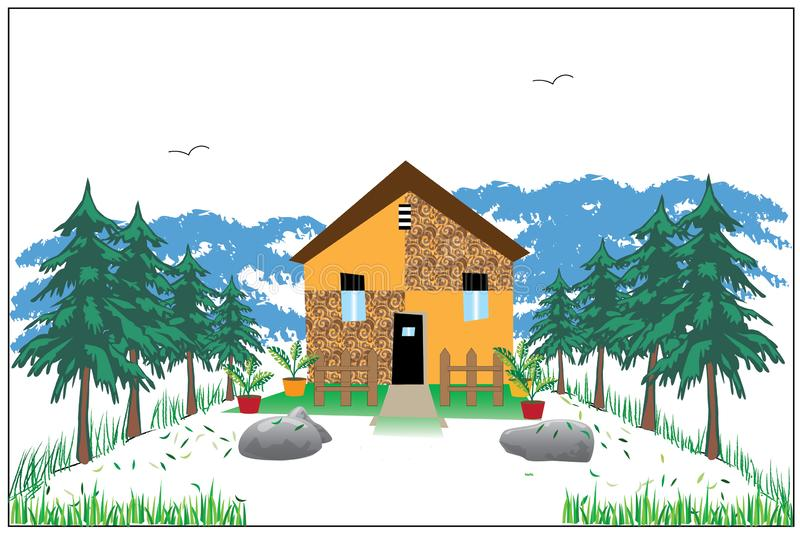 House in hills art image. This is a house in hills background abstract art image used in any art background and also looks beautiful on wall frame vector illustration