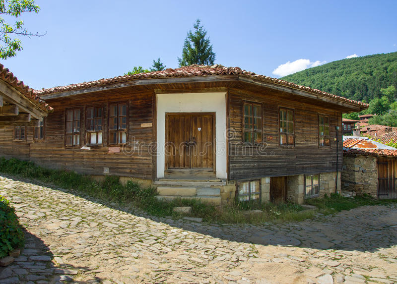 House on a hillside in the Balkans royalty free stock photography