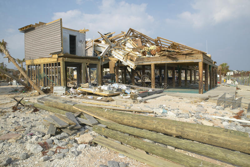 House hit heavily by Hurricane Ivan stock photos