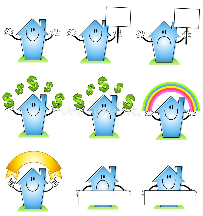 House and Home Cartoons. An illustration featuring your choice of 9 house and home cartoons in various poses - smiling, frowning, holding signs, juggling money