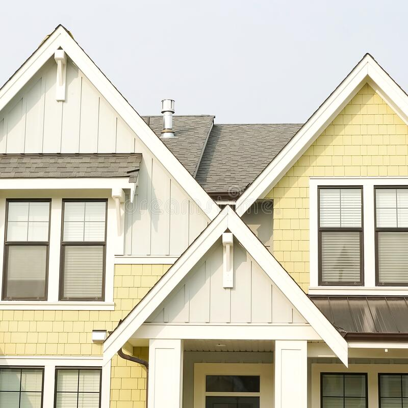Free House Home Exterior Front Elevation Roof Peaks Gable Details Royalty Free Stock Photos - 196093788